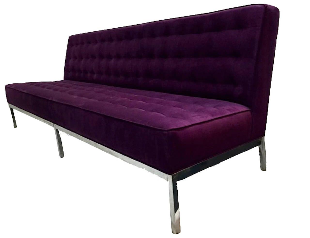 Knoll Inspired Chrome Framed Sofa 2