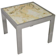 Pristine Marble and Chrome End Table
