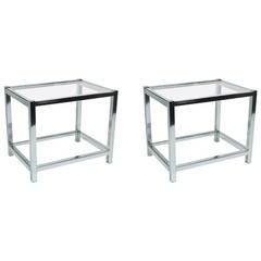 Chrome and Glass End Tables