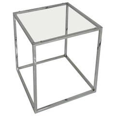 Cube Chrome End Table
