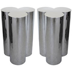 Pair of Stainless Steel Pedestals by Mastercraft