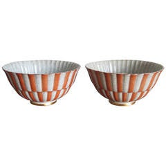 Pair of Royal Copenhagen Crackle Bowls