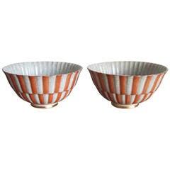 Pair of Royal Copenhagen Crackle Bowls