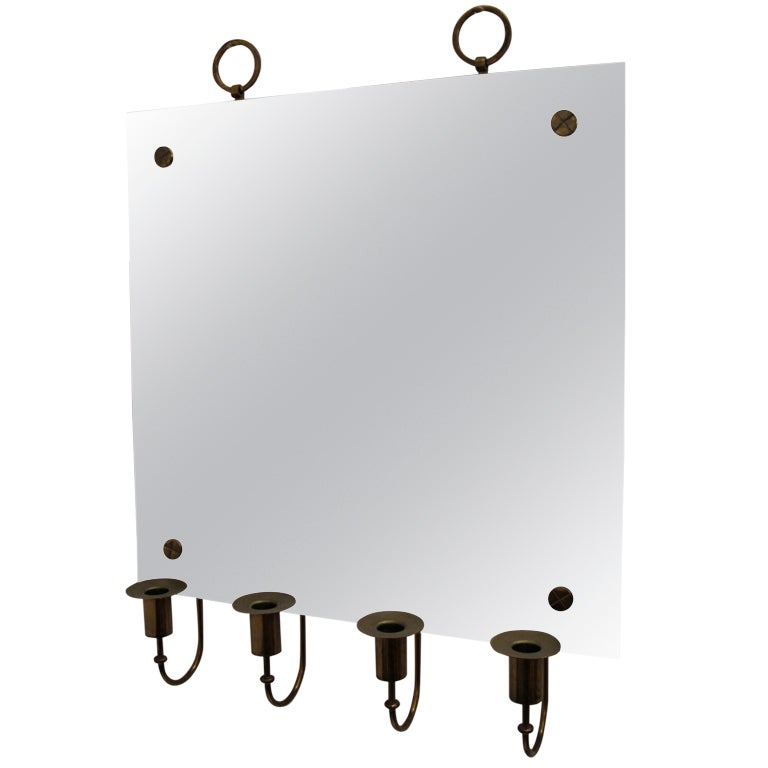 Tommi Parzinger Mirror with Candleholders For Sale
