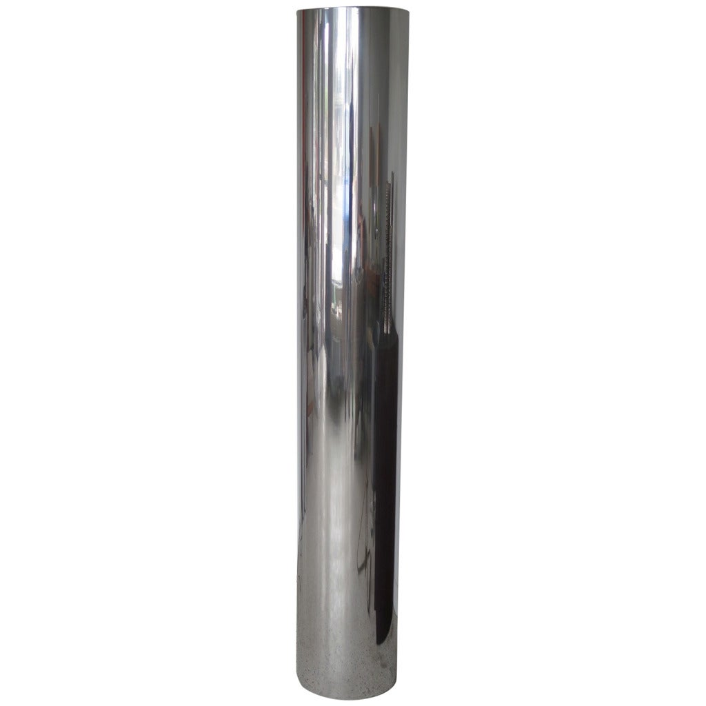 Unusual Polished Aluminum Tubular Floor Lamp For Sale