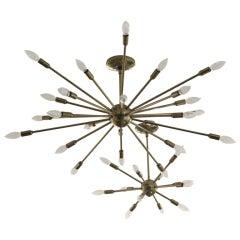 A 12 Arm Sputnik Brass Chandelier by Lightolier