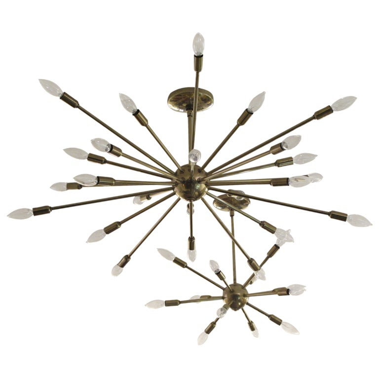 Lightolier Ring Chandelier At 1stdibs: A 12 Arm Sputnik Brass Chandelier By Lightolier At 1stdibs