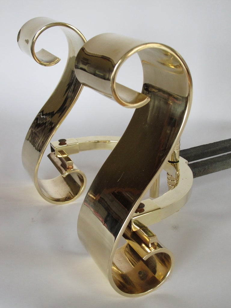 Modern A Pair of Polished Scroll Brass Andirons For Sale