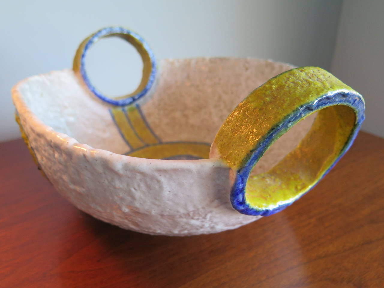 Unusual two-handed vessel by Raymor, Italy, circa 1950s.