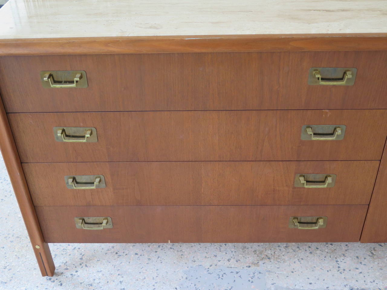 Modern Gerry Zank for Gregori Credenza with Travertine Top For Sale