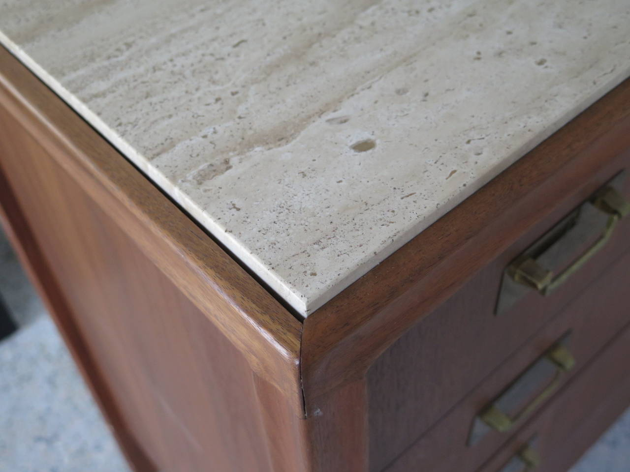 American Gerry Zank for Gregori Credenza with Travertine Top For Sale