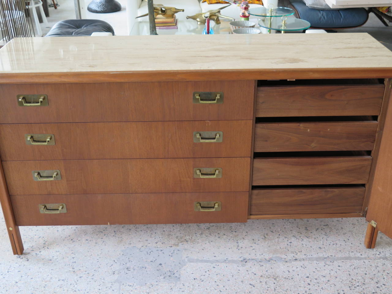 Mid-20th Century Gerry Zank for Gregori Credenza with Travertine Top For Sale