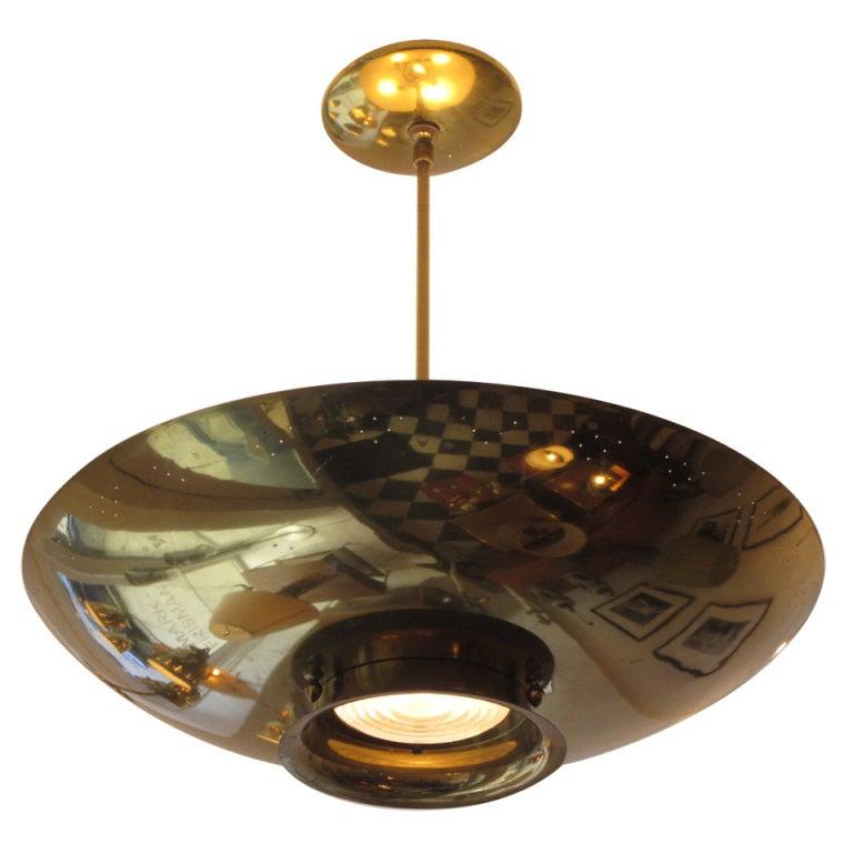 Lightolier Ring Chandelier At 1stdibs: Polished Brass Lightolier Chandelier At 1stdibs
