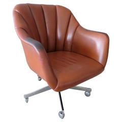 Ward Bennett for Brickell Desk Chair in Original Leather
