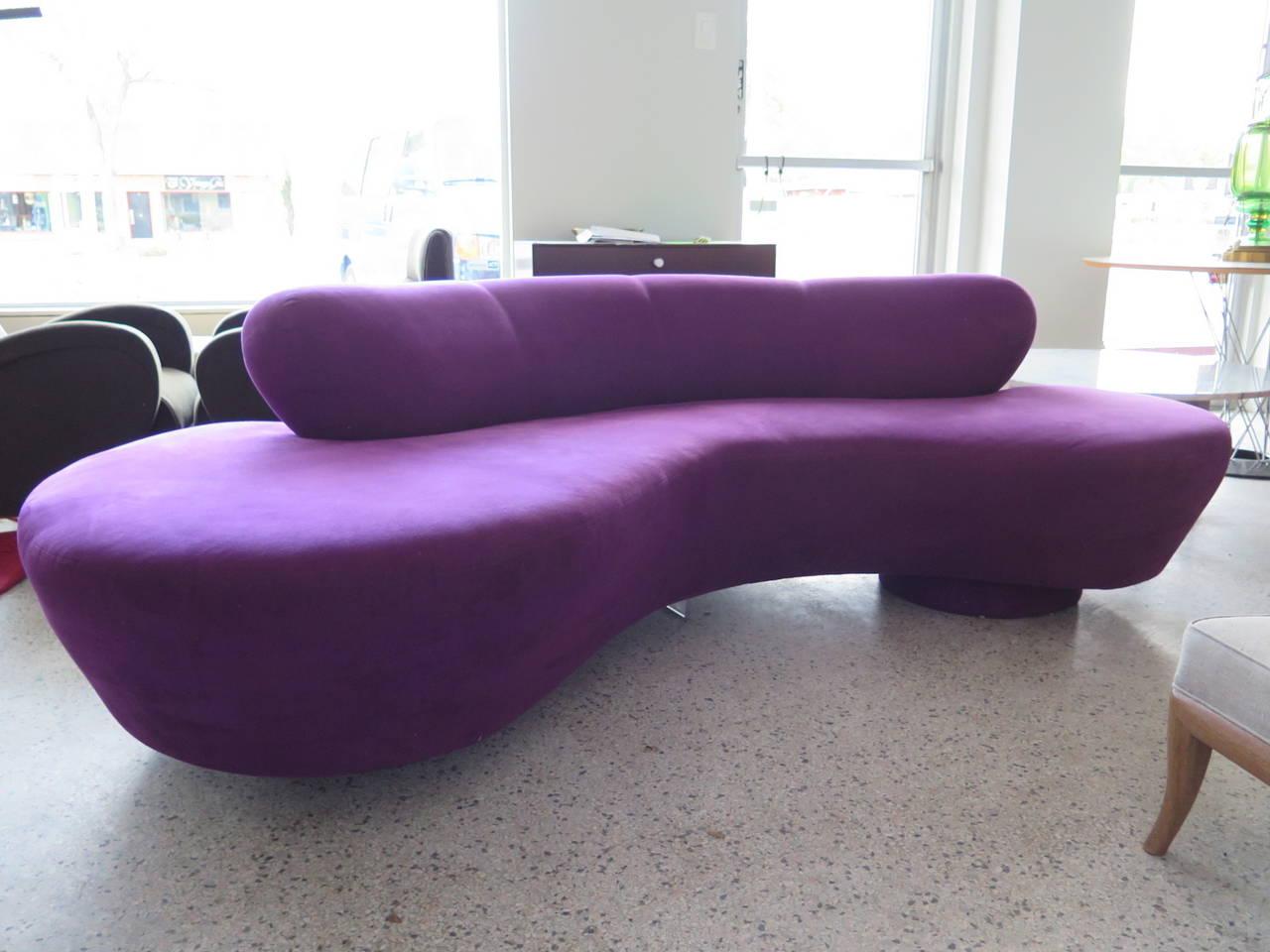 Ordinaire A Classic Vladimir Kagan Cloud Sofa In Original Lilac Or Purple Ultrasuede.  Label Intact.