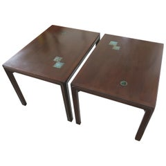 Pair of Edward Wormley for Dunbar Occasional Tables with Natzler Tiles