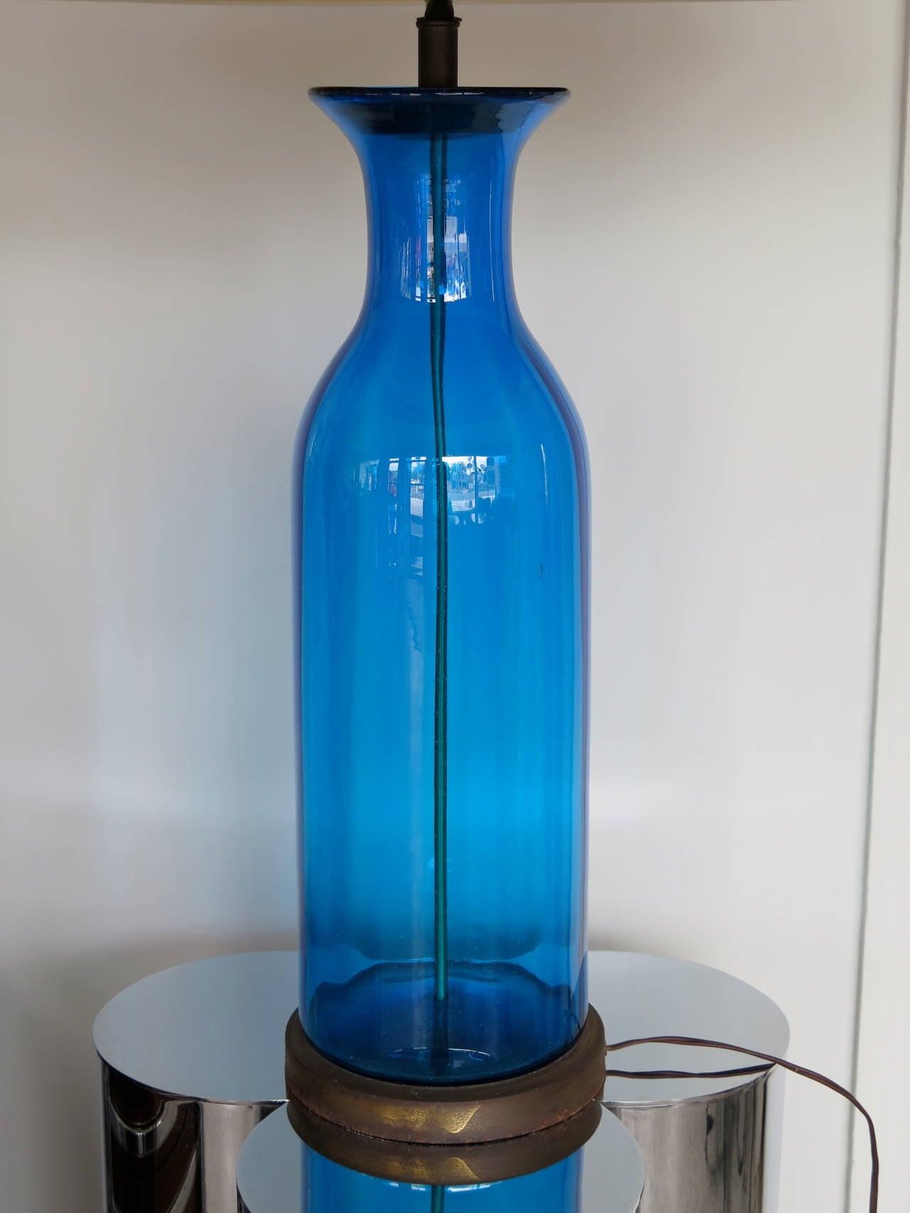 Massive Bottle Shaped Glass Lamp by Blenko 2