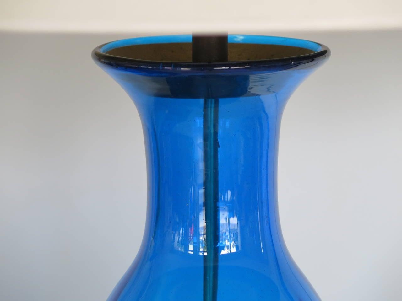 Massive Bottle Shaped Glass Lamp by Blenko 3