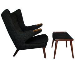 Original Hans Wegner Papa Bear Chair And Ottoman