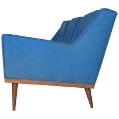 Unusual Milo Baughman 1967 Three Seat Sofa Walnut Frame