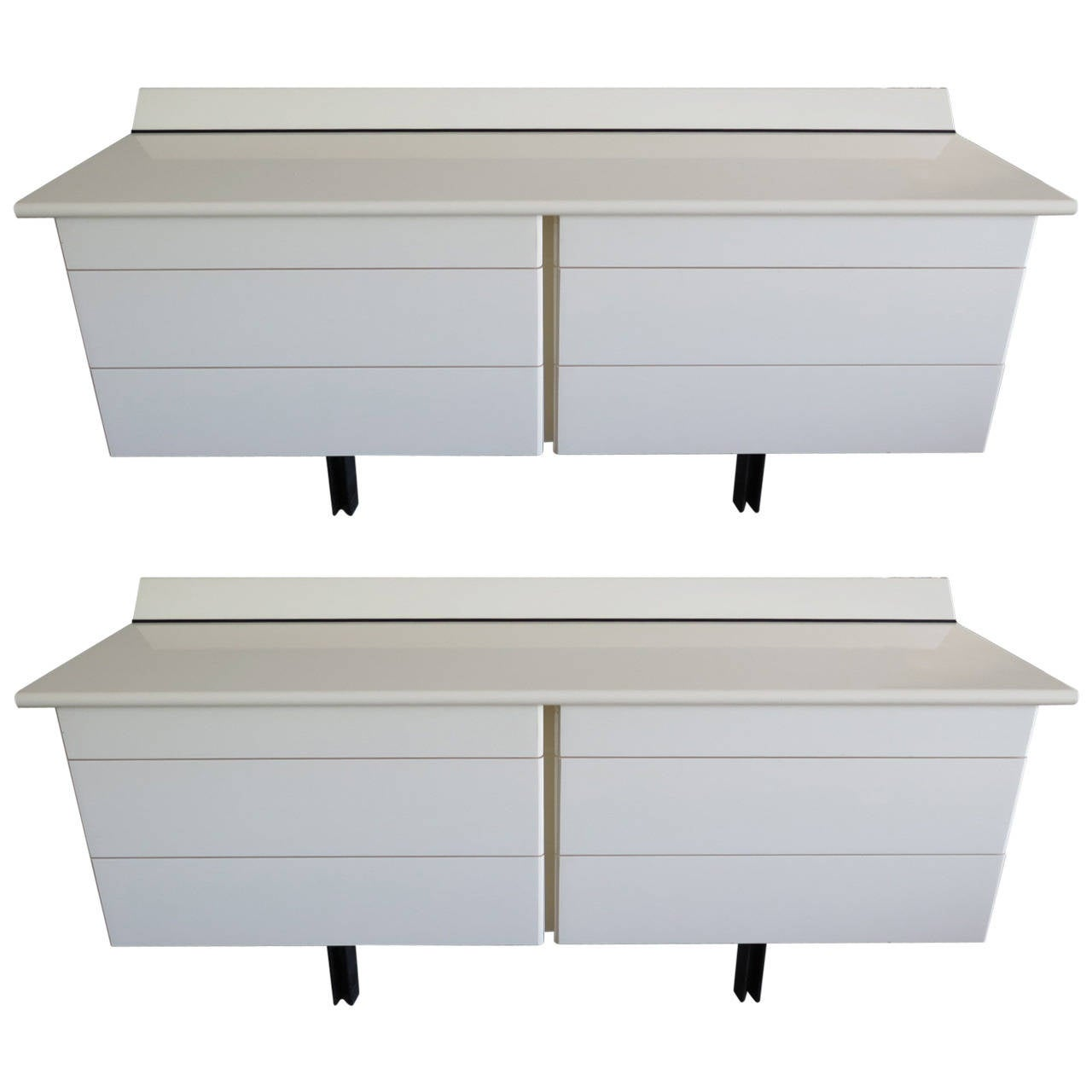 Pair of Large White Lacquer Chests For Sale