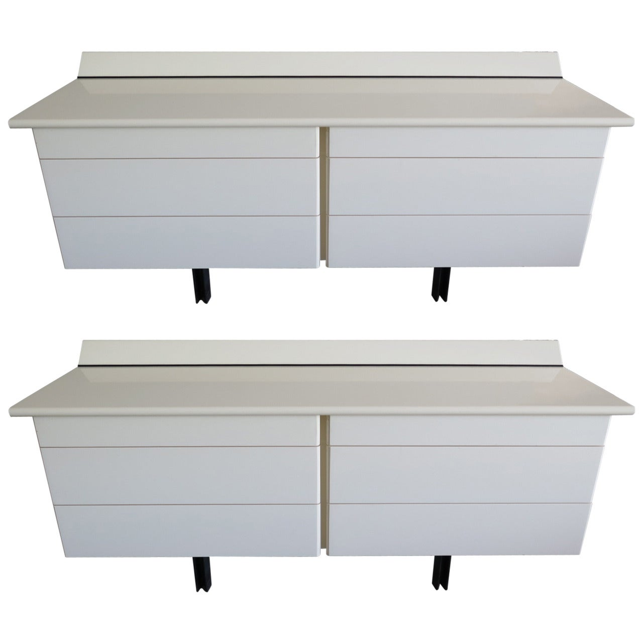 Pair of Large White Lacquer Chests