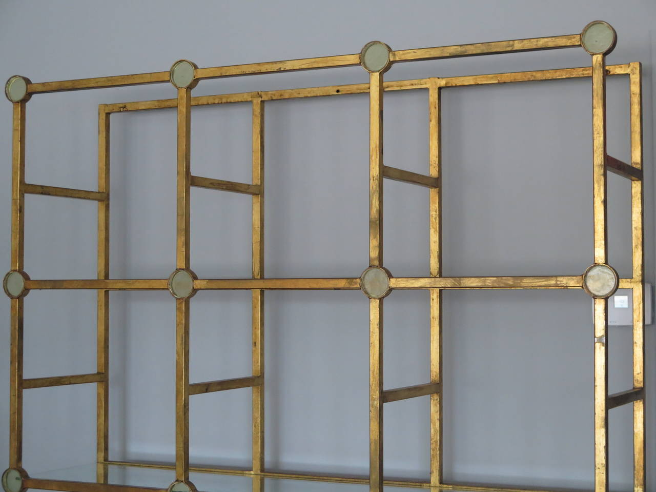 Unusual Étagerè in Gilt Metal and Glass 2