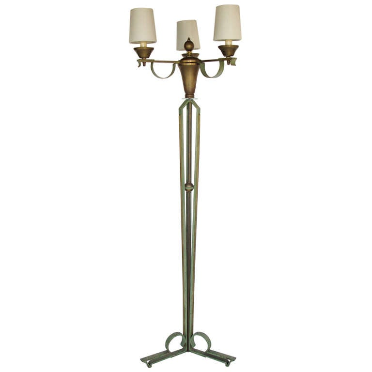 elegant floor lamp by arlus in wrought iron and brass at 1stdibs. Black Bedroom Furniture Sets. Home Design Ideas