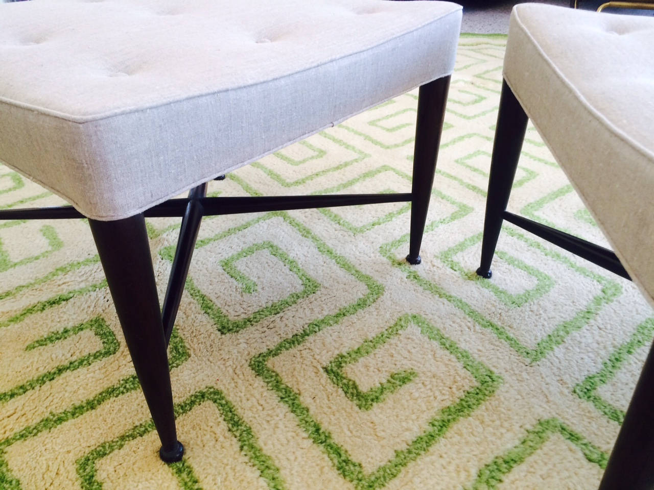 Pair of Dunbar Thiebes Stools In Good Condition For Sale In St.Petersburg, FL
