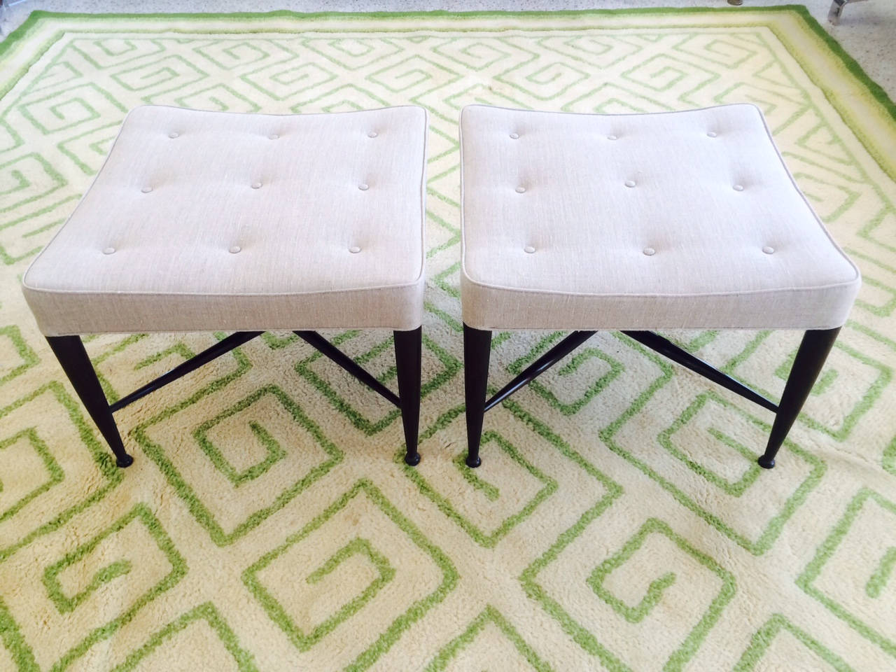 Modern Pair of Dunbar Thiebes Stools For Sale