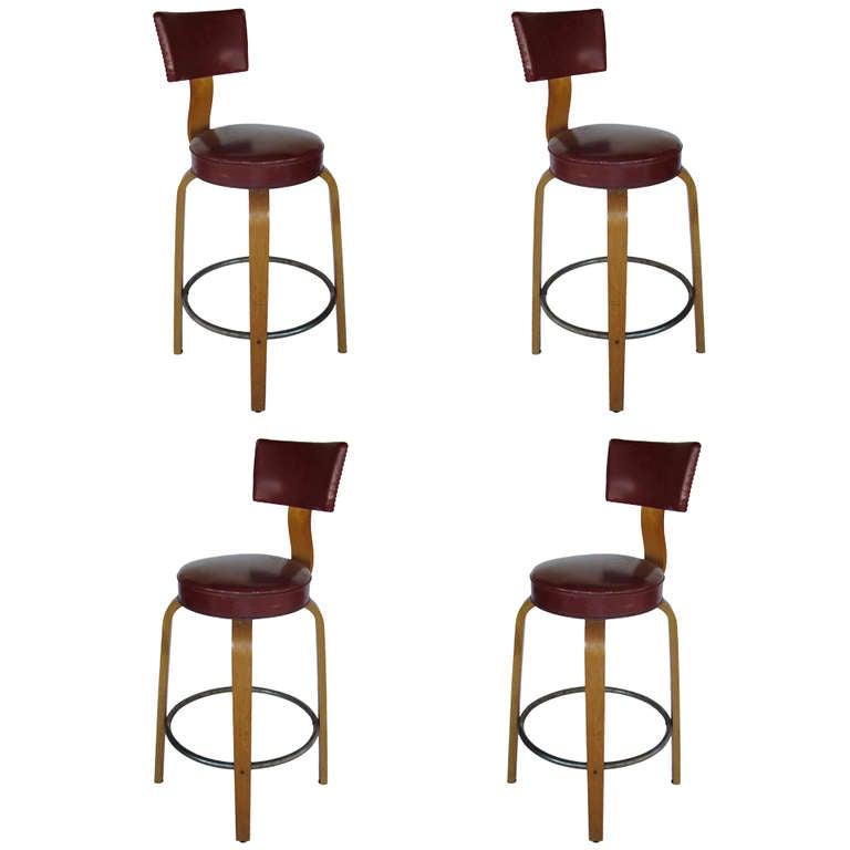 A Set Of Bar Stools By Thonet At 1stdibs