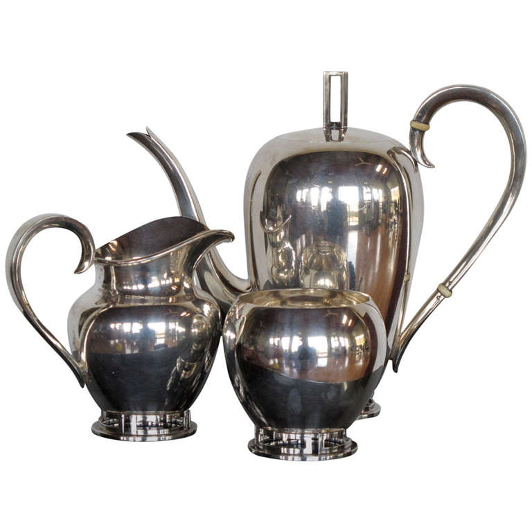 Allan Adler Greek Key Sterling Tea Set