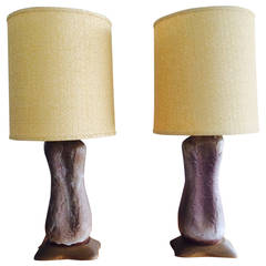 Pair of Unusual Ceramic Lamps by Design Technics