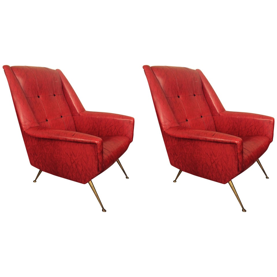 Pair of Elegant Italian Chairs in the Style of Gio Ponti