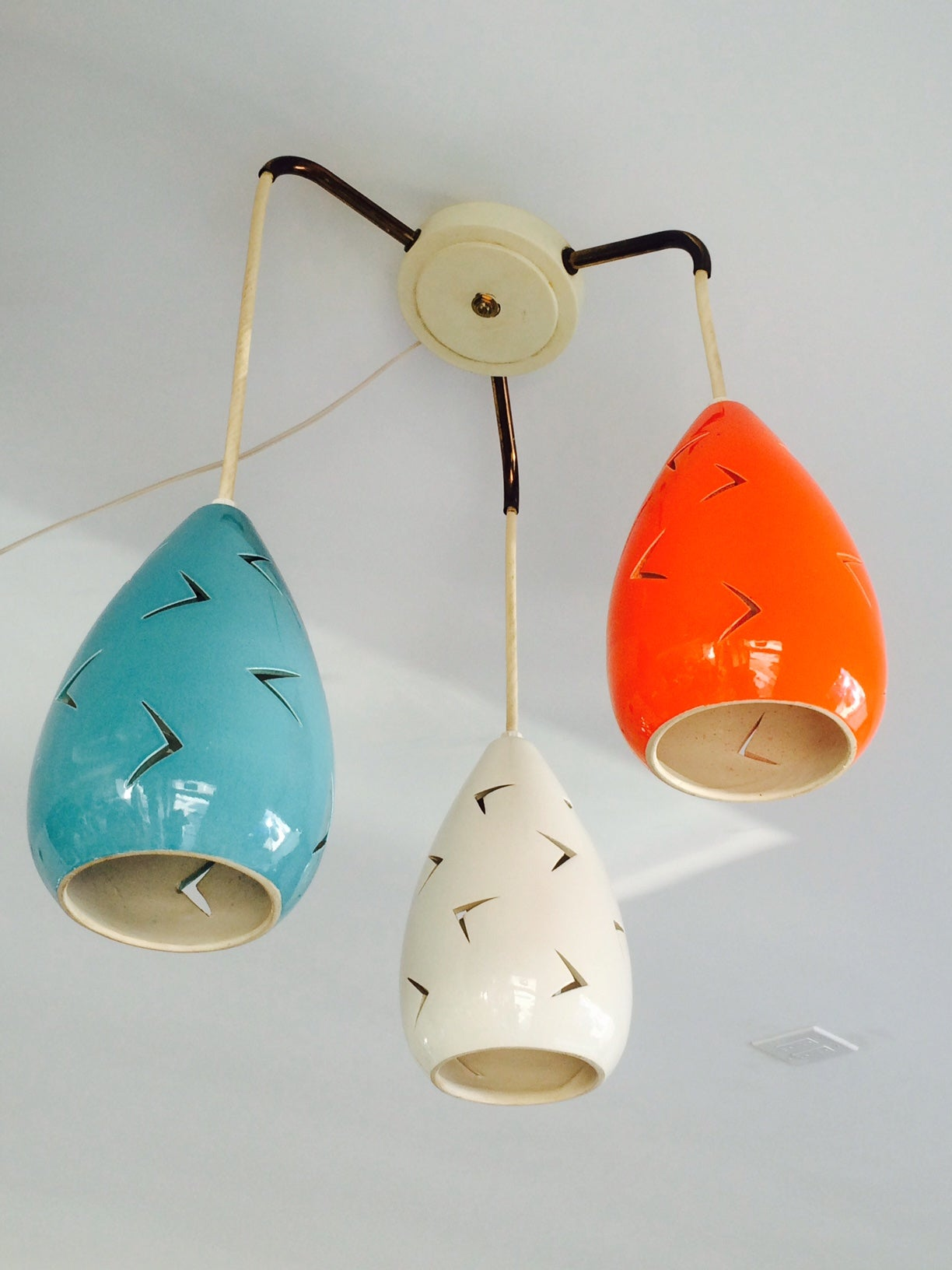 Charming mid century ceramic chandelier at 1stdibs a charming mid century ceramic chandelier great colors ceramic shades have cutouts arubaitofo Image collections
