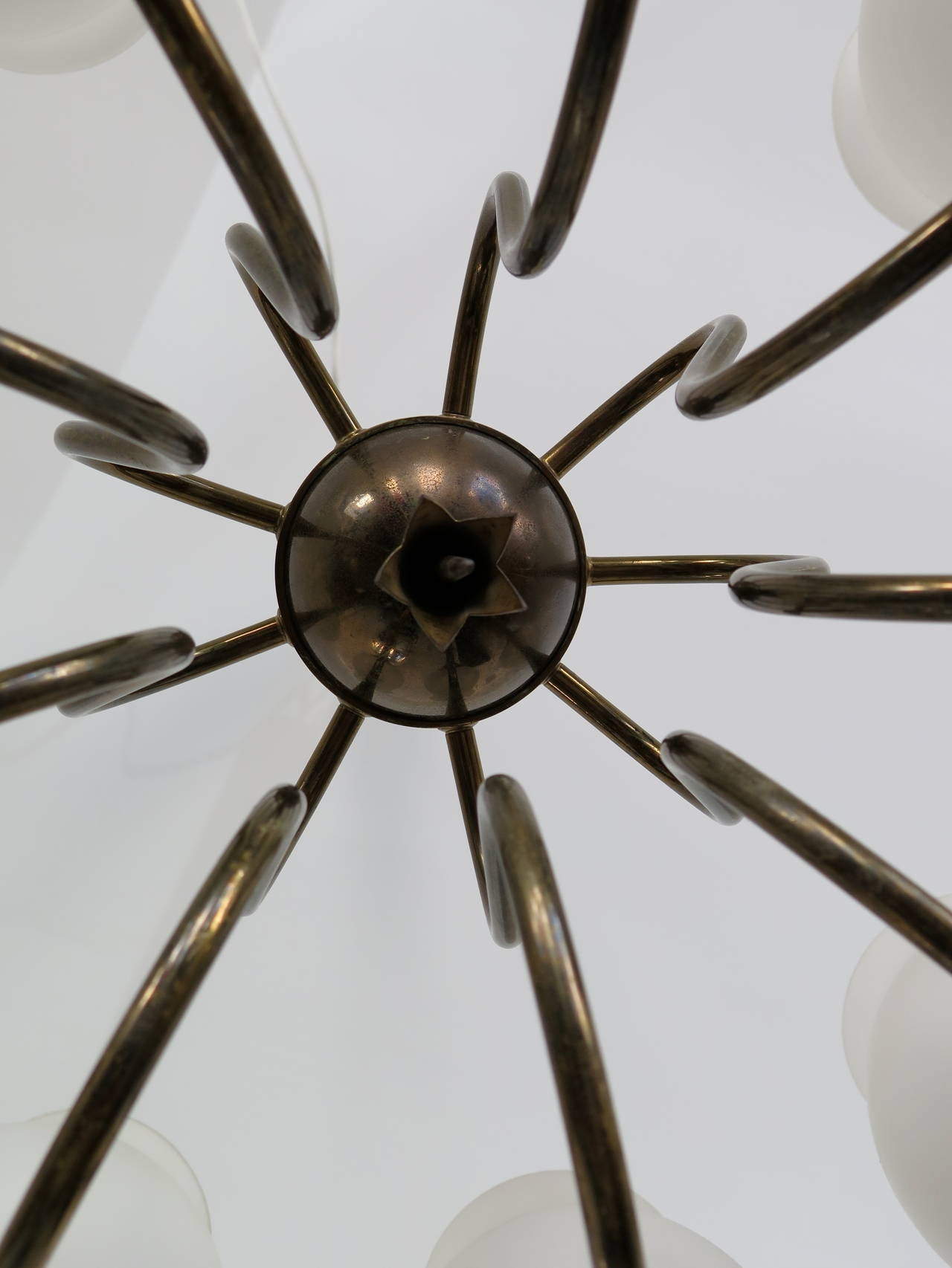Mid-20th Century Elegant Chandelier by Angelo Lelii for Arredoluce, Italy, circa 1956 For Sale