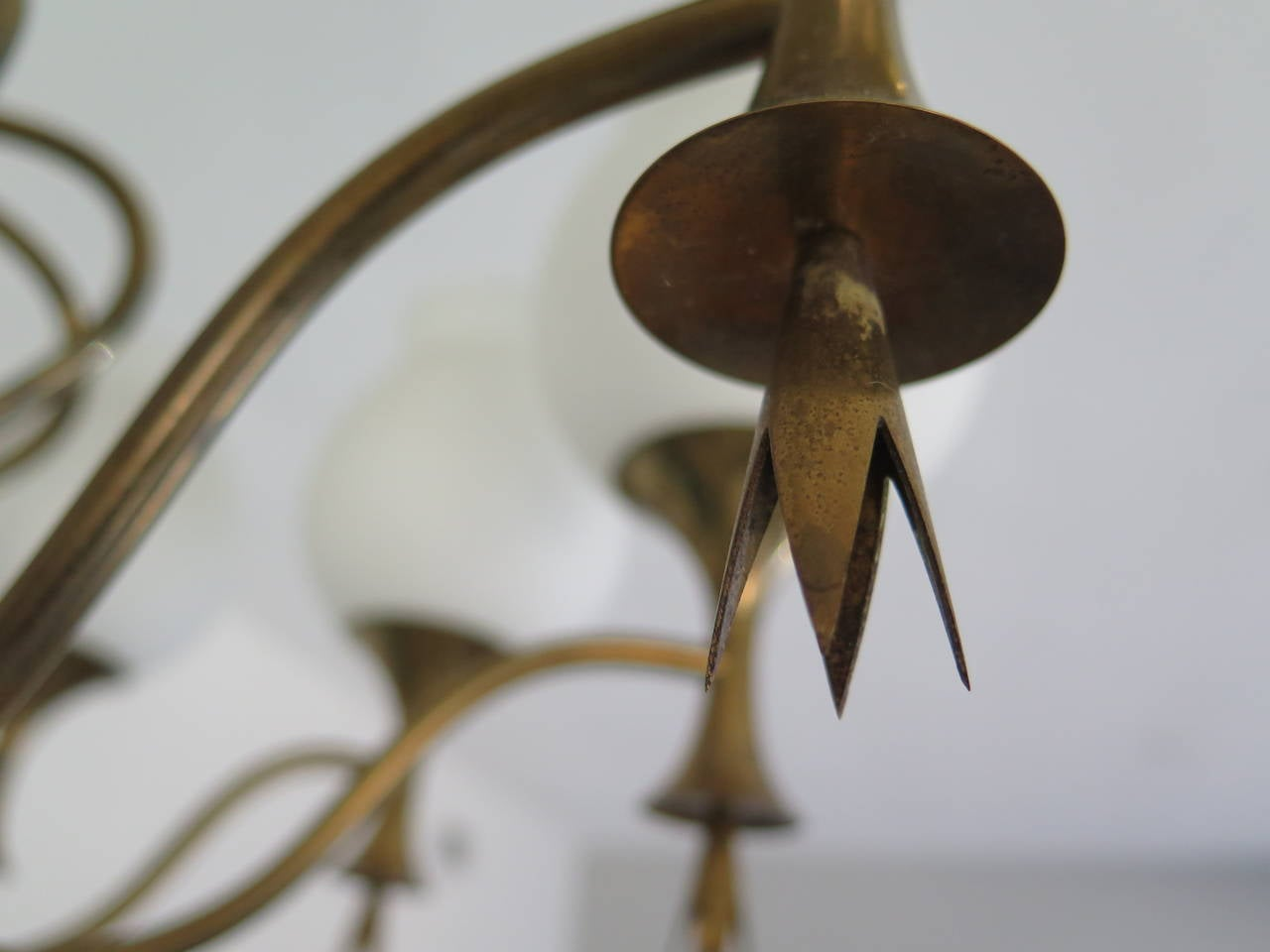 Brass Elegant Chandelier by Angelo Lelii for Arredoluce, Italy, circa 1956 For Sale