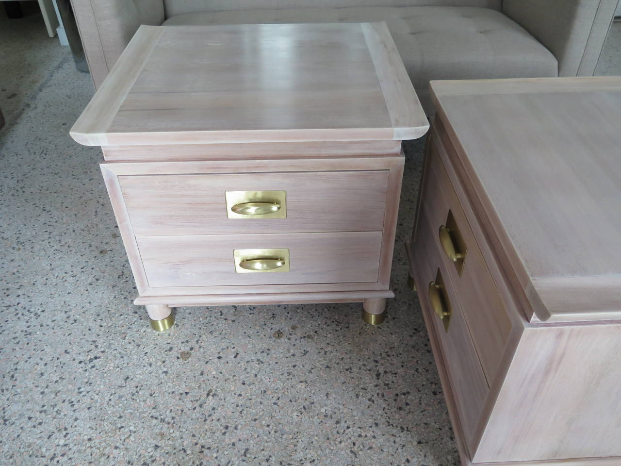 Pair of Elegant Chinese Style Nightstands with Polished Brass Hardware For Sale 1
