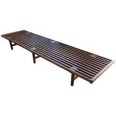 Danish Modern Slat Bench in Teak