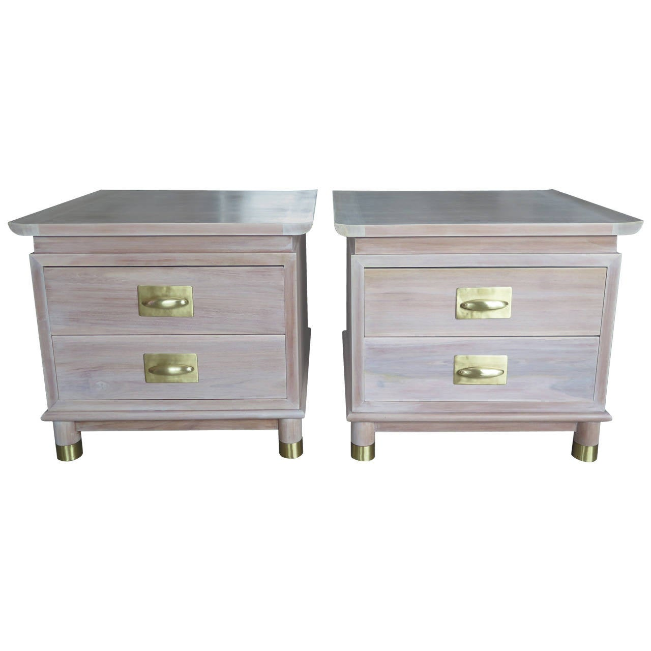 Pair of Elegant Chinese Style Nightstands with Polished Brass Hardware For Sale