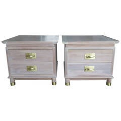 Pair of Elegant Chinese Style Nightstands with Polished Brass Hardware