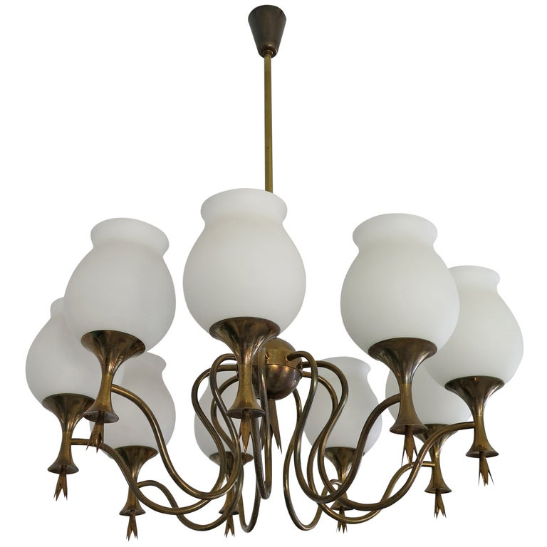 Elegant Chandelier by Angelo Lelii for Arredoluce, Italy, circa 1956 For Sale