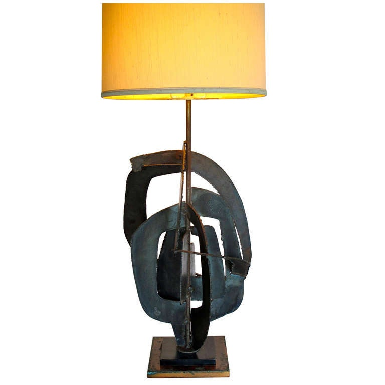A Brutalist Welded Steel Lamp by Harry Balmer For Sale at 1stdibs