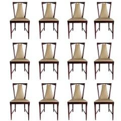 Set of 12 Elegant Chairs in the style of Osvaldo Borsani