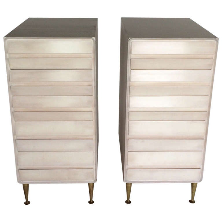 A Pair of Unusual Five Drawer Chests in Birch For Sale