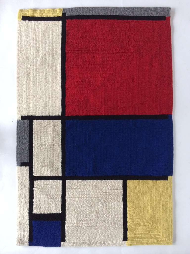 A colorful Mondrian rug, # 607, circa 1960s by Louis H.Guidetti. Measures: 36