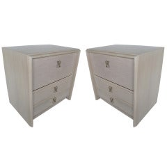 A Pair of Paul Frankl Night Stands in White Wash Finish