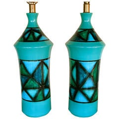 Pair of Italian Ceramic Turquoise Lamps, circa 1960s