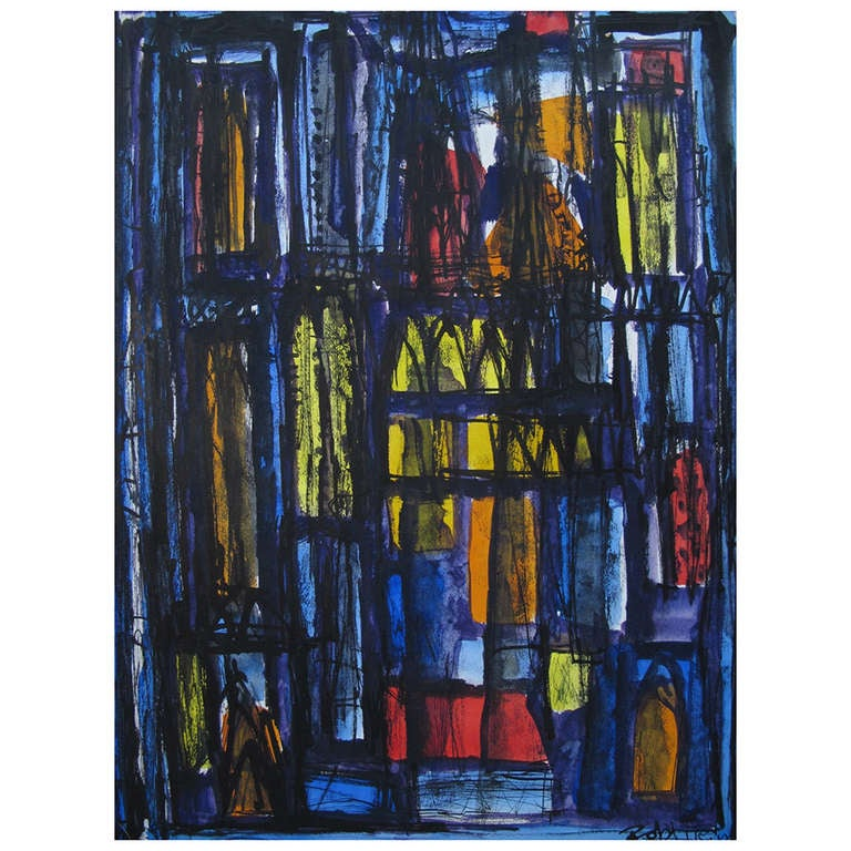 "A Robert Freiman Gouache on Paper ""Cathedrale"" 1961"