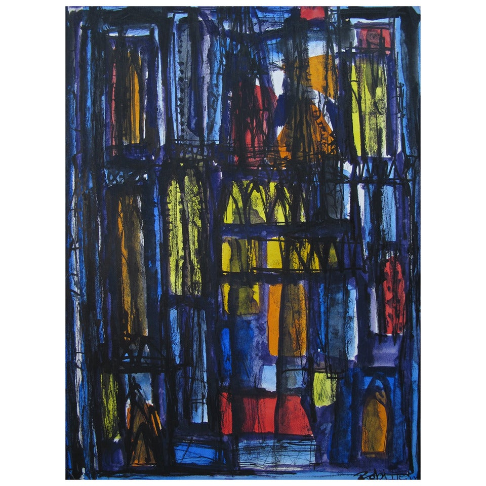 """A Robert Freiman Gouache on Paper """"Cathedrale"""" 1961"""